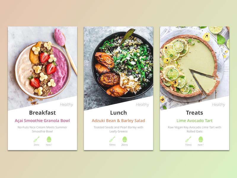 #040 Recipe App yummy healthy meal vegetarian food recipe uxdesign uidesign 040 challenge dailyui