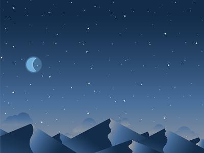 Dusk environment design night dribbble dusk lighting evening moon night sky sand dunes mountains design illustration