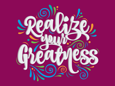 Realize Your Greatness Typography motion colorful design typography