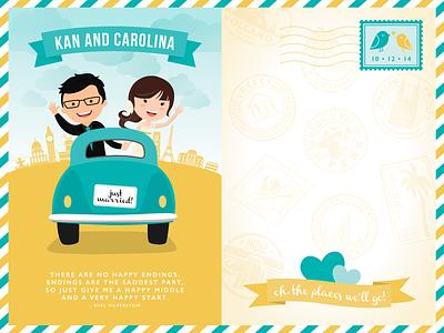 Travel Themed Wedding invite postcard website travel wedding vector event design invitation illustration
