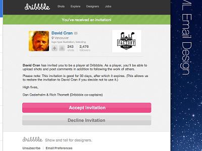 HTML Email Design (Dribbble Invite) html email dribbble