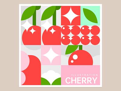 cherry geometric figure cherry illustration design