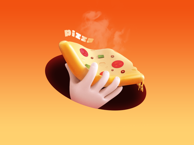 Pizza 🍕 pizza slice hand bread meat eat cheese apple works 3d logo 3d art icon illustration c4d design