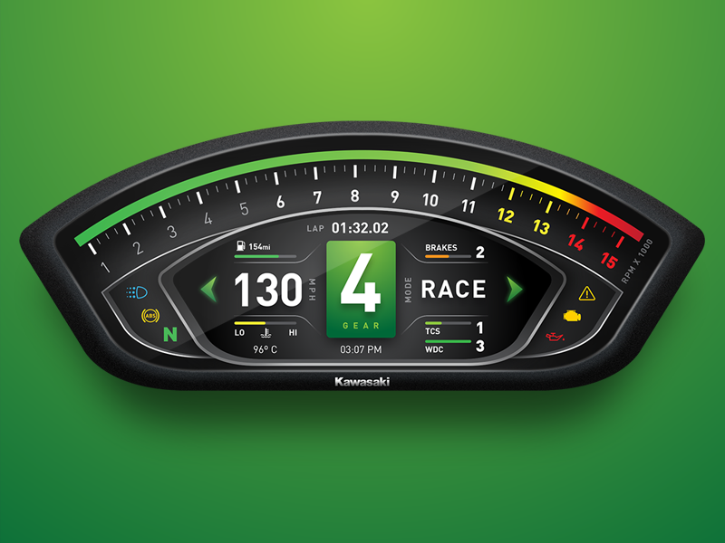 Kawasaki ZX10R Dashboard UI by Rob Robertson on Dribbble