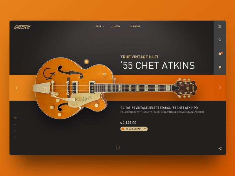 Grestch gretsch guitar website header concept webdesign ux ui