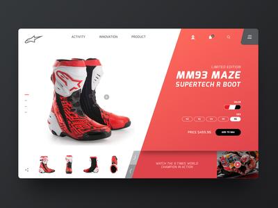 Alpinestars Supertech R Boots motogp alpinestars product header concept webdesign ux ui