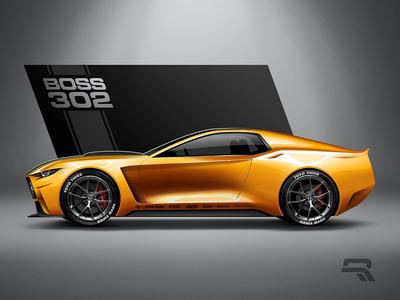 20' Boss 302 photoshop sketch concept car boss concept art ford ford mustang automotive design cardesign concept design illustration