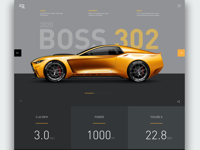 2020 Boss 302 boss302 ford mustang cardesign illustration website concept webdesign ui