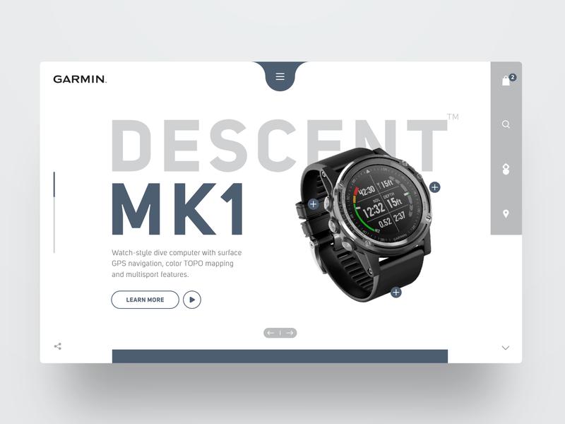 Garmin watch computer scuba diving hero productdesign website header concept ux webdesign ui