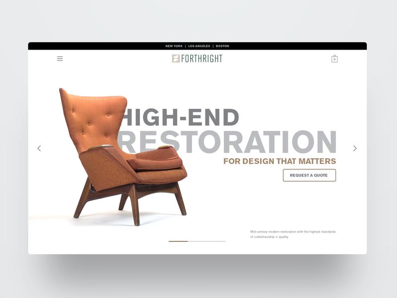 Forthright header design hero ux webdesign ui