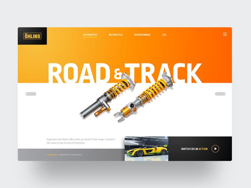 Ohlins Racing car motorsports suspension racing ohlins website concept header webdesign ux ui