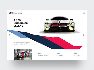 BMW M8 GTE gte m8 motorsports fia bmw website header webdesign ux ui