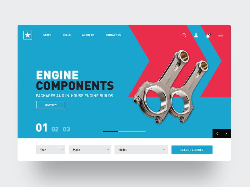 Ostar Hero performance parts motorsports website hero ux webdesign ui