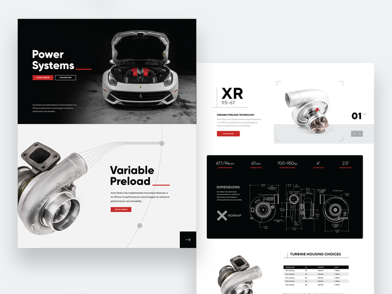 Turbocharger Brand  Website Concepts turbo motorsports design website concept webdesign ux ui