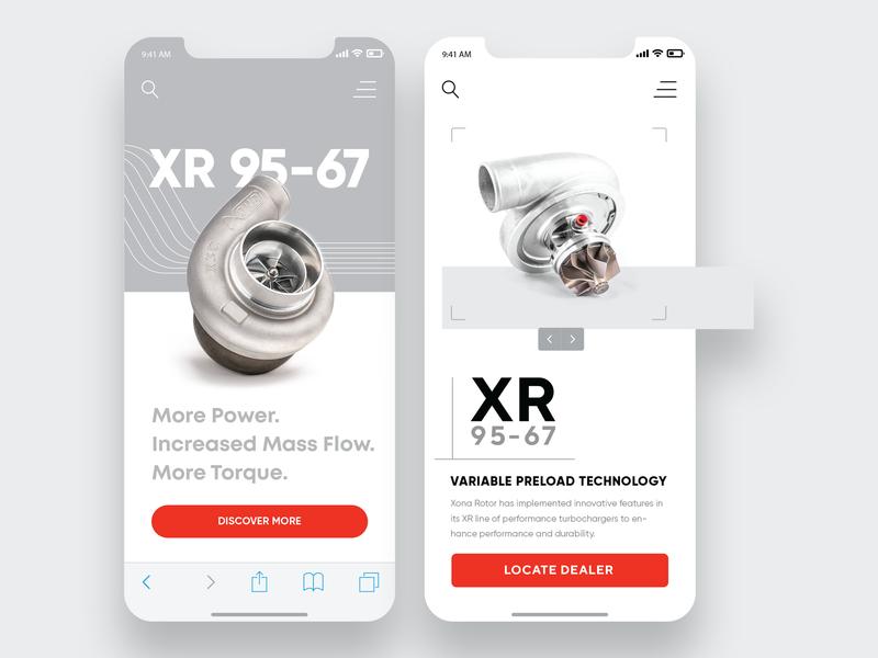 Turbocharger brand mobile exploration turbo motorsports concept webdesign ux ui