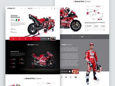 MotoGP Rider Profile Page profile page landingpage ducati dovizioso motogp motorsports concept webdesign ui