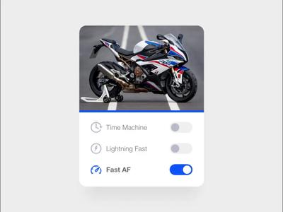 Sport Bike Card autoanimate adobexd card motortcycle sportbike kawasaki bmw ducati motorsports productdesign webdesign ux ui