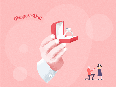 Propose Day 2020 vector proposal valentines valentinesweek art illustration guy propose guy girl ring box ring propse propose day