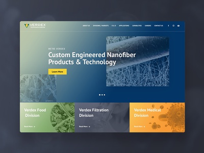 Verdex Technologies nano fiber interface design web design ui design medical science ux ui