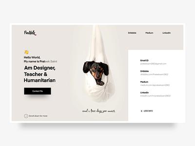 Portfolio website ux ui project pageloader personal resume portfolio dog image 2d animation aftereffects