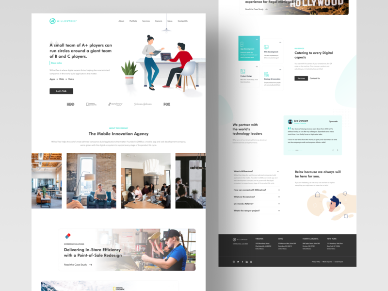 Willowtree Redesign typography clean vector logo willow service faq testimonial illustraion ux ui web figma freelance website redesign willowtree