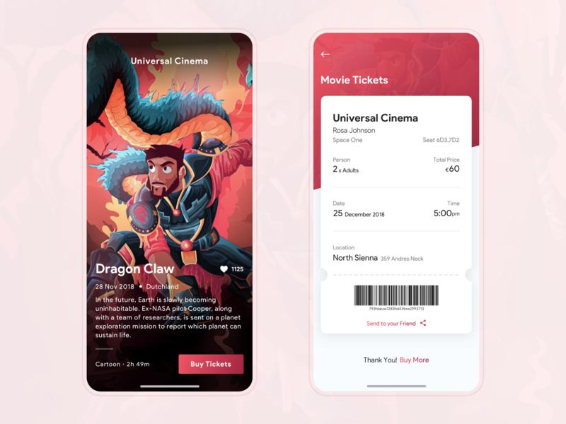 Universal Cinema sketch ux mobile ticket app online typography illustration cartoon hollywood cinema