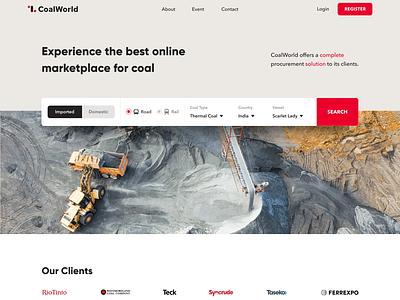 CoalWorld Website logo illustration design stats testimonial footer debut events red coal clean typography website web