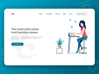 Online Hindi Learning Classes branding clean web page responsive landing page interaction graphic design web hindi teaching learn online debut website illustration ui ux typography design