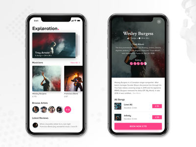Music Application lettering flat icon design music art interaction app ux debut responsive vector explore logo ui typography online clean booking music app music