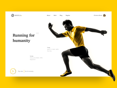 Running for Humanity explore app web vector logo branding yellow humanity charity responsive sports sport race ux landing page graphic design typography online design clean