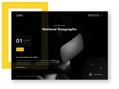 National Geographic online usa apk typography ar ui ux map black dark web landing page tech technology discovery national geographic virtual vr