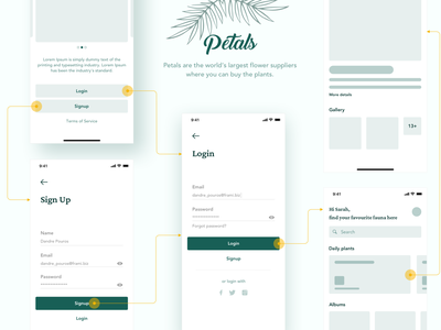 Petals purchase logo green ecofriendly planting profile swipe buy shop ui app eco flow signup login wireframe mobile plants plant