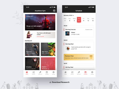 Anytime Gym [UX Research] product analytics body fitness freebie health calender exercise time payment plant diet schedule sports statistics research ux gym app gym activity