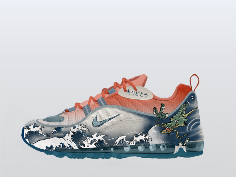 """Nike Air Max 98 """"Ukiyo-e"""" japanese nike hype hypebeast sneakers tattoo nyc hand-lettering drawing procreate design illustration"""