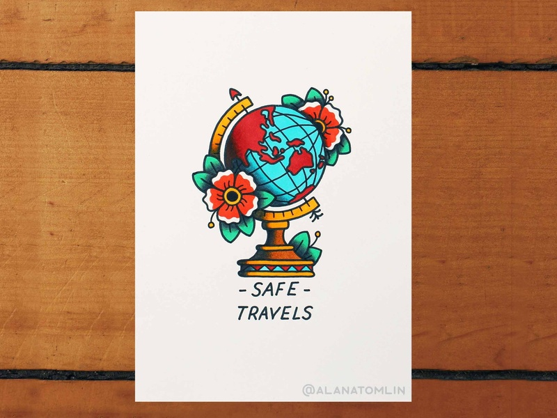 Safe Travels flowers traditional tattoo tattoo australia alanatomlin alana tomlin travel world map globe