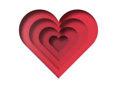 Heart valentines day valentine card 3d art 3d valentine feeling logo layer-art paper art love heart red illustrator art icon vector illustrator cc illustrator illustration design amateur