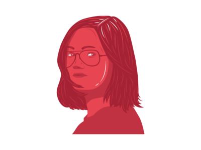 Profile layer-art woman portait woman portrait girl branding design illustrator art illustrator profile design profile logo icon 3 colors red flat vector illustrator cc illustration amateur
