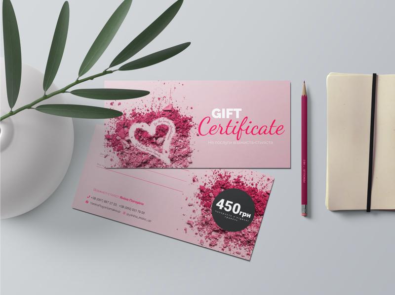 Gift Certificate studio print design polygraphy makeup gift certificate gift certificate beauty style graphic designer branding design