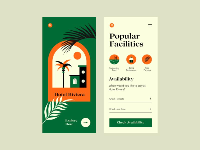 Hotel Riviera reserve hotel booking illustration colors app interface design ui