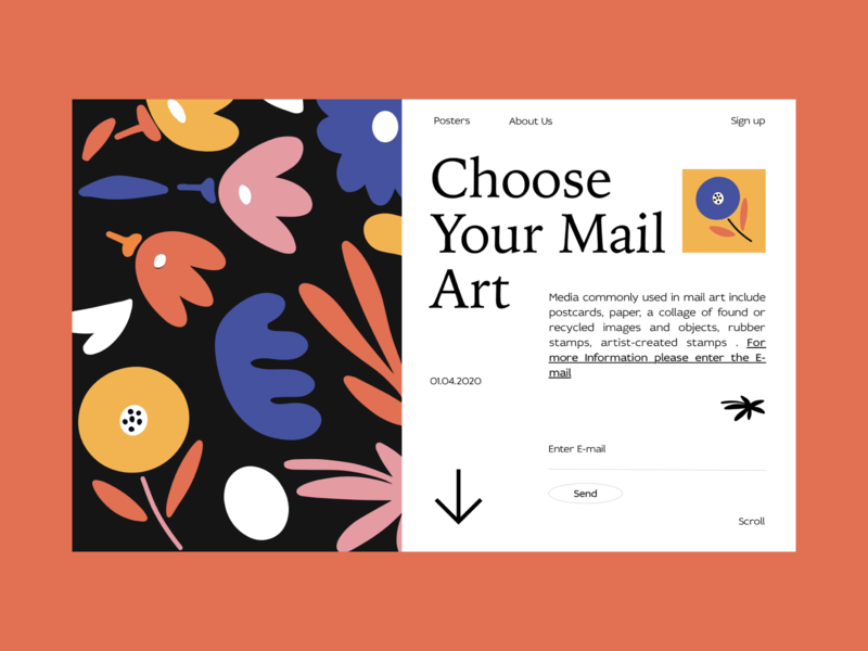 Mail Art branding typography blog colors illustration web interface design ui