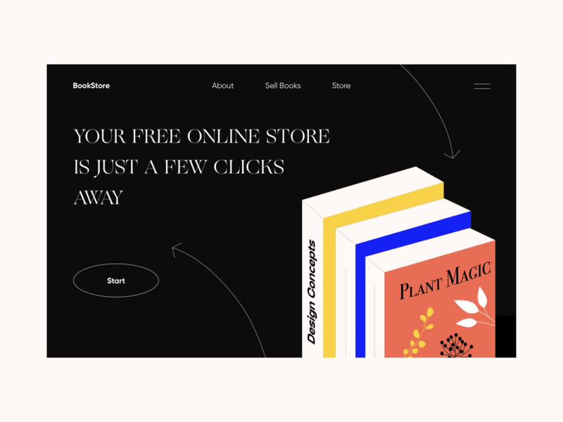 Bookstore vector typography colors illustration interface web design ui