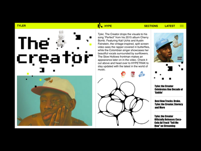 TYLER THE CREATOR blog fashion photography vector colors web interface design ui