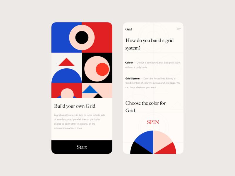 Grid design interface colours shape app design app mobile ui
