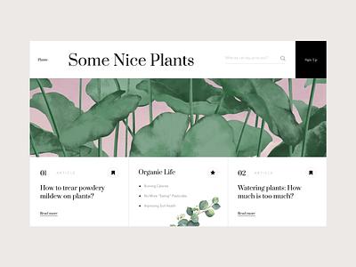 Some Nice Plants typography plants illustration interface design web ui