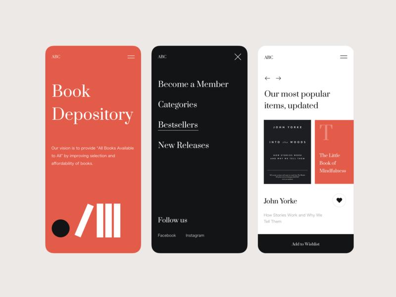 Book Depository app shopping book app design interface design web ui