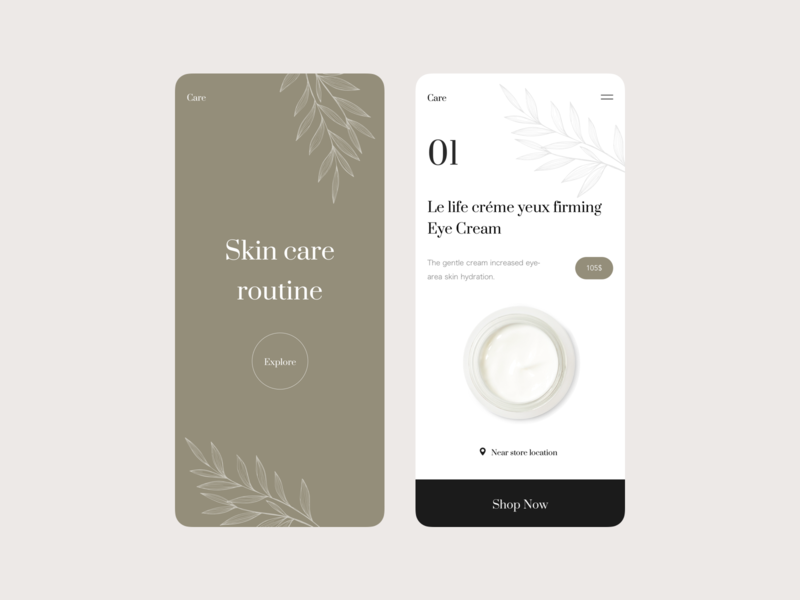 Skincare App design interface shopping fashion skincare skin mobile app design app ui
