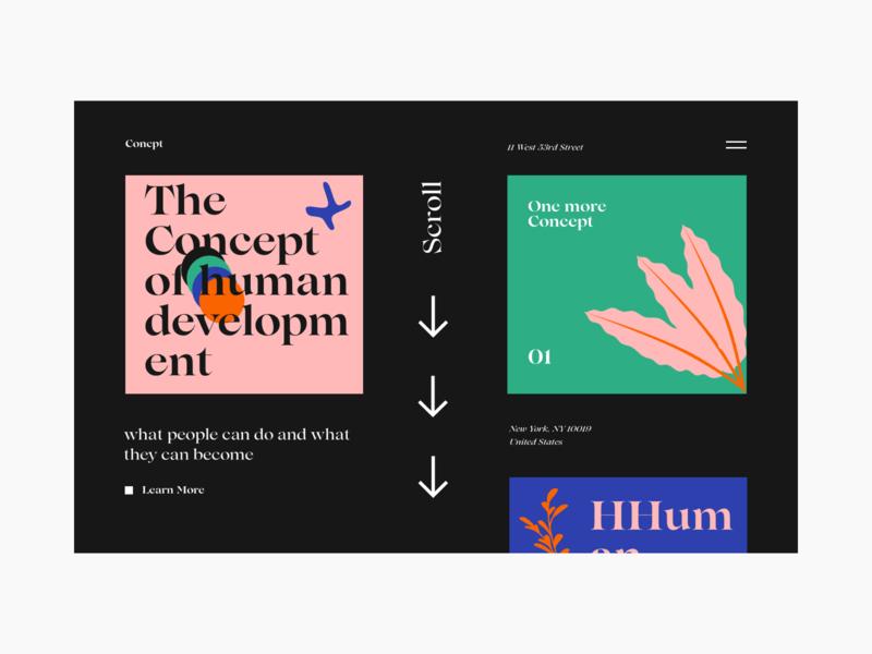 Concept typeface typogaphy experimental colors illustration blog interface design web ui