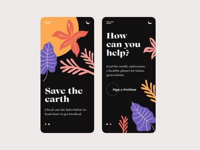 save the earth colors app design app branding earth shape illustration interface design ui