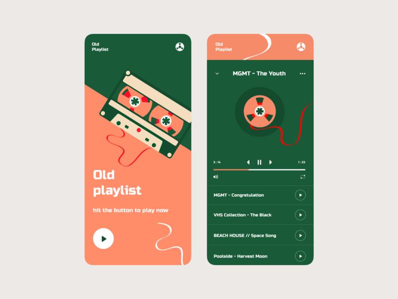 oldplaylist player music app design colorful art illustration app design interface ui