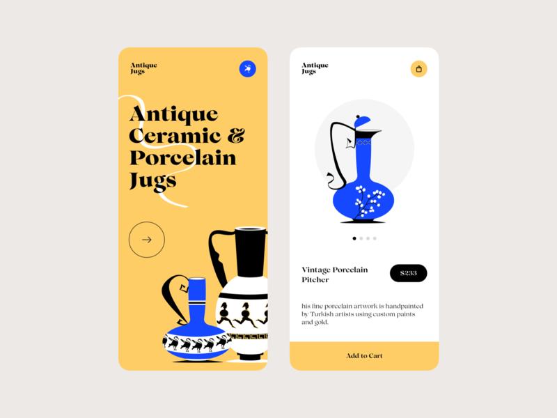 Antique Jugs app design colors app illustration interface design ui
